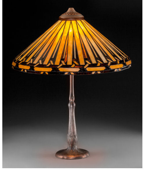 Handel Leaded Glass and Bronzed Table Lamp