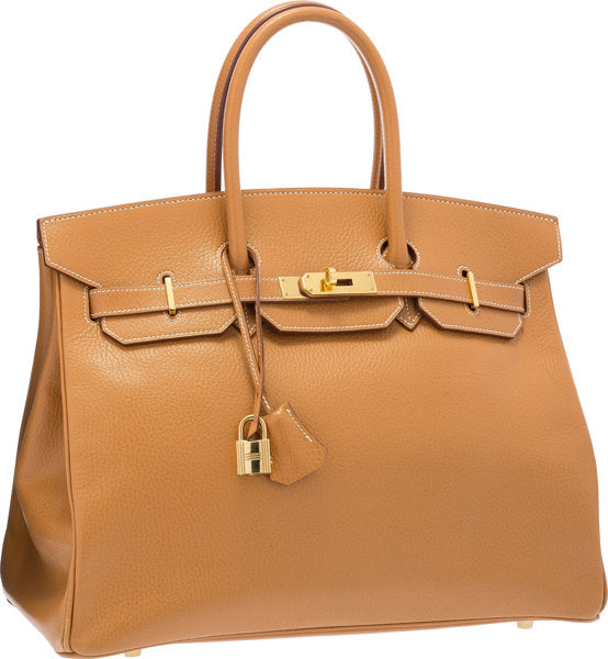 Hermes 35cm Sable Ardennes Leather Birkin Bag with Gold Hardware