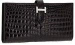 Hermes Exceptional Collection Shiny Black Nilo Crocodile Bearn Wallet Clutch with 18K White Gold & Diamond Hardware
