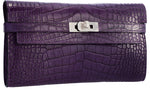 Hermes Matte Amethyst Alligator Kelly Long Wallet with Palladium Hardware. Pristine Condition