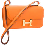 Hermes Orange H Swift Leather Constance Elan Bag with Gold Hardware