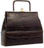 Judith Leiber Brown Alligator Top Handle Bag with Gold Hardware