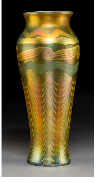 Large Tiffany Studios Decorated Gold Favrile Glass Vase