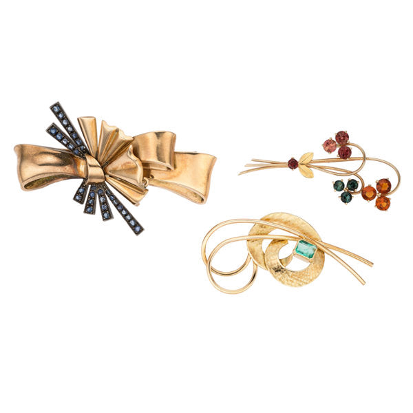 Retro Multi-Stone, Gold, Silver-Topped Gold Brooches