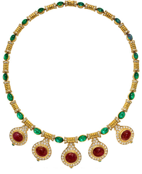 Ruby, Emerald, Diamond, Gold Necklace