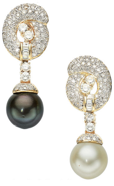 South Sea Cultured Pearl, Diamond, Gold Earrings