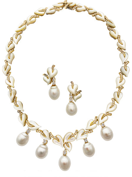 South Sea Cultured Pearl, Diamond, Mother-of-Pearl, Gold Jewelry Suite, Trio