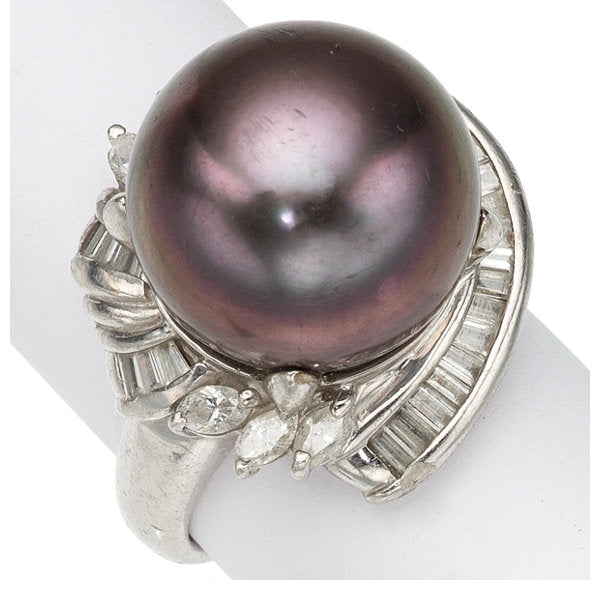 South Sea Cultured Pearl, Diamond, Platinum Ring
