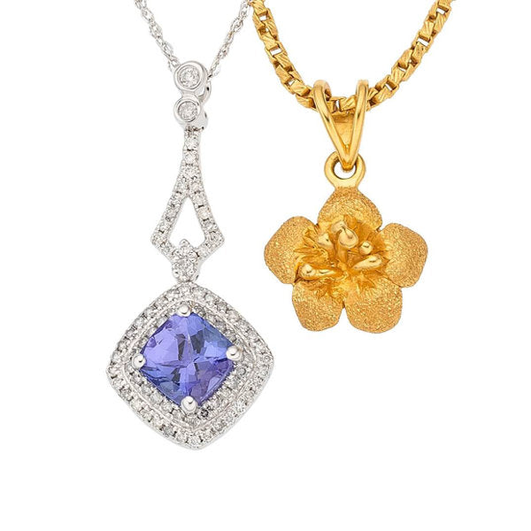 Tanzanite, Diamond, Gold Pendant-Necklaces