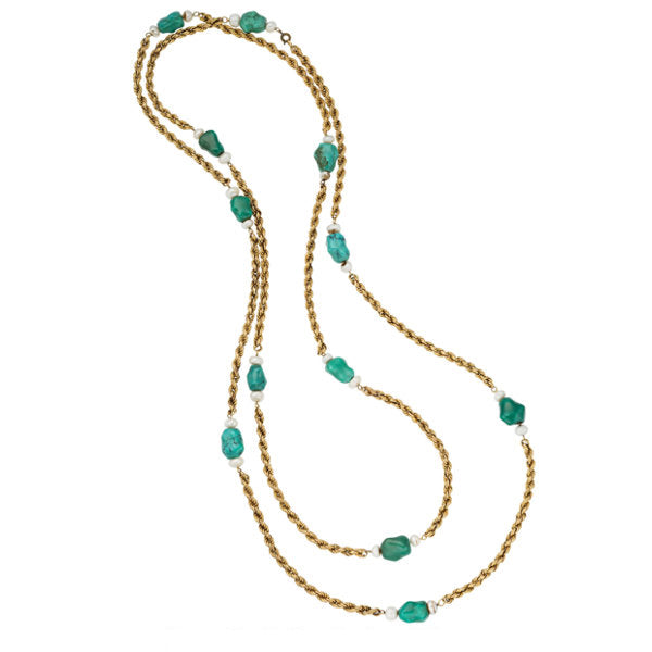 Turquoise, Freshwater Cultured Pearl, Gold Necklace
