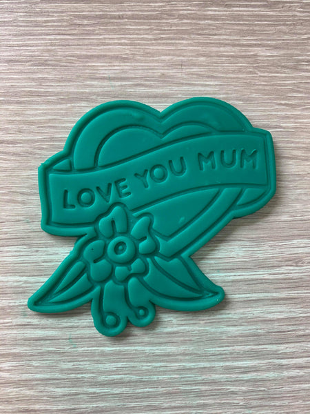 Love you mum heart Cookie Cutter and Embosser.