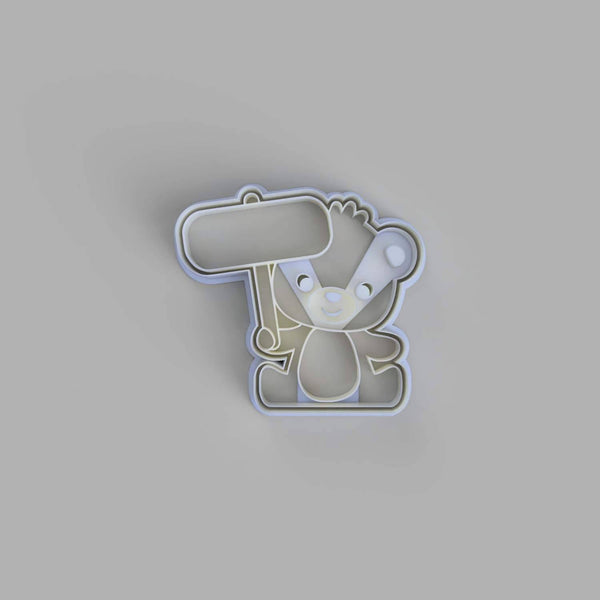 Teddy Bear Holding a Sign Cookie Cutter - just-little-luxuries