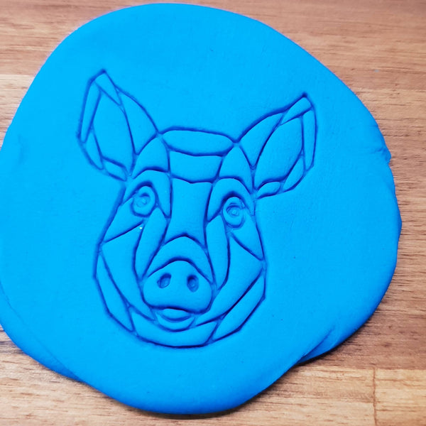 Geometric pig Cookie Embosser - just-little-luxuries