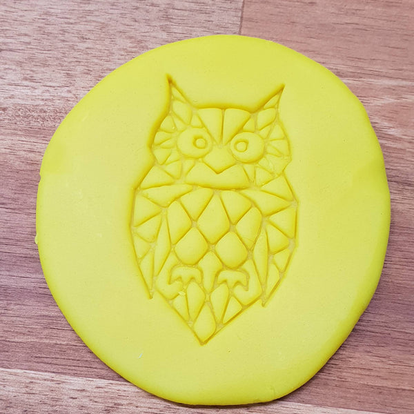 Geometric owl Cookie Embosser. Geometric Animal Fondant Embossers. - just-little-luxuries