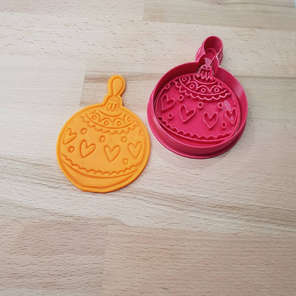 Christmas bauble cookie cutter - round bauble with hearts - just-little-luxuries