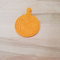 Christmas bauble cookie cutter - round bauble with spirals - just-little-luxuries