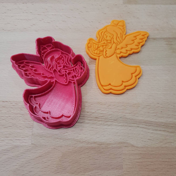 Christmas cookie cutter - angel with harp - just-little-luxuries