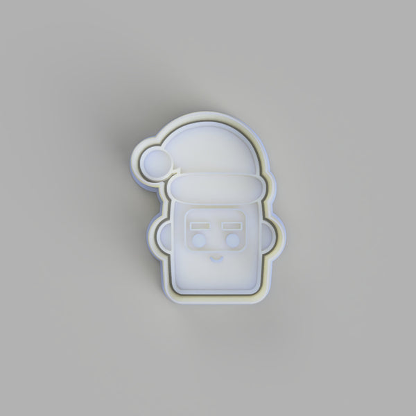 Santa Face Blocky - Christmas Cookie Cutter and Embosser