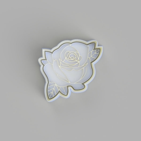 Rose (4) - Tattoo Style Cookie Cutter and Embosser - just-little-luxuries