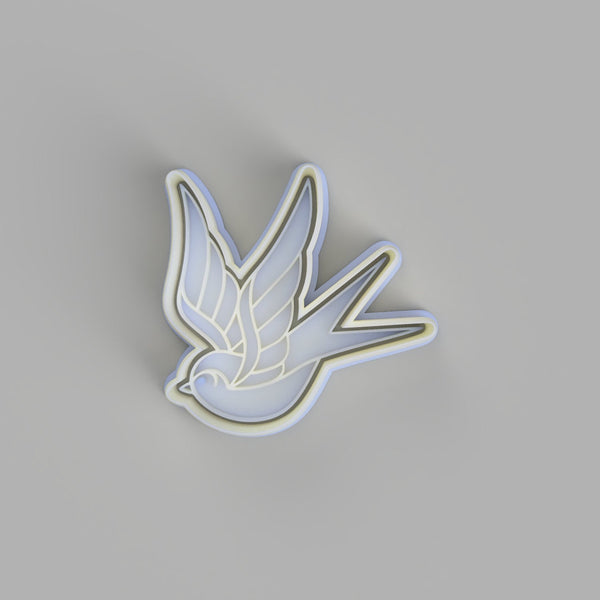 Swallow (2) - Tattoo Style Cookie Cutter and Embosser