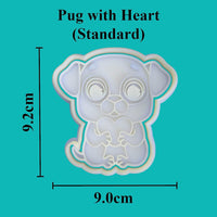 Pug with heart Cookie Cutter - just-little-luxuries