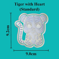 Tiger with heart - Valentines Day Cookie Cutter. Available in Mini and Standard sizing - just-little-luxuries
