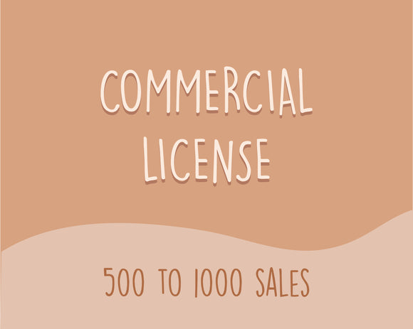 COMMERCIAL LICENSE (500 - 1000 sales)