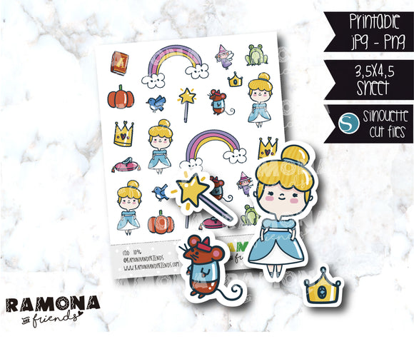 COD1096- Cinderella stickers / Princess stickers