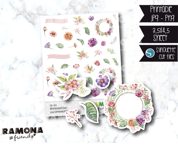 COD1103- Flowers stickers / Spring stickers