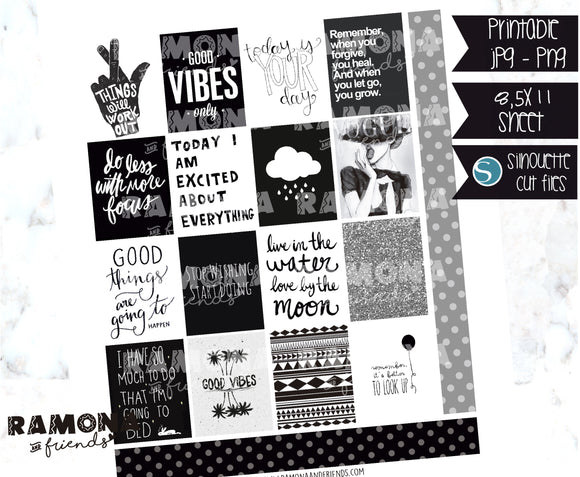 COD1126- Black and white stickers / Erin Condren planner stickers