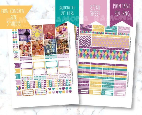 COD1192- Tangled stickers / Erin Condren planner stickers