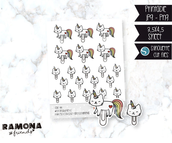 COD144-Cat paper clip stickers