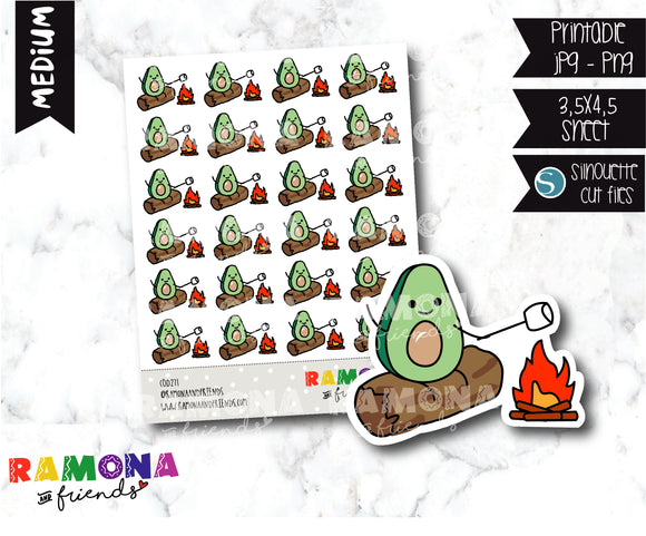 COD271- Avocado camp stickeres / Avocado Planner stickers