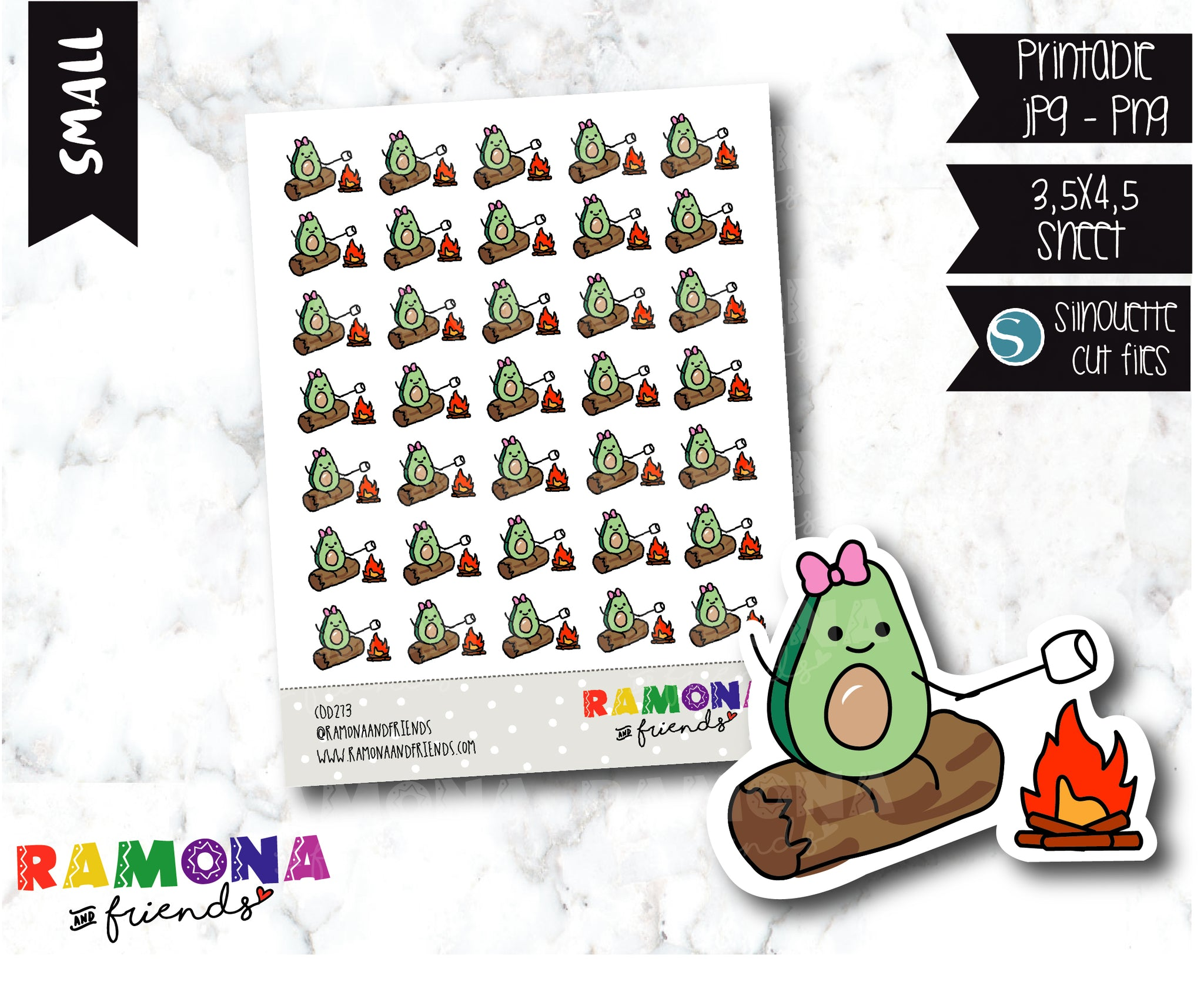 COD273- Avocado camp stickeres / Avocado Planner stickers