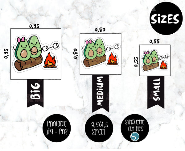 COD285- Avocado camp stickeres / Avocado Planner stickers