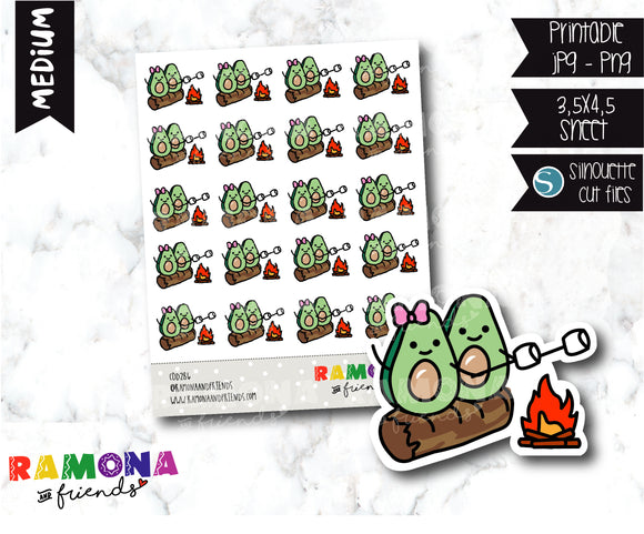 COD286- Avocado camp stickeres / Avocado Planner stickers