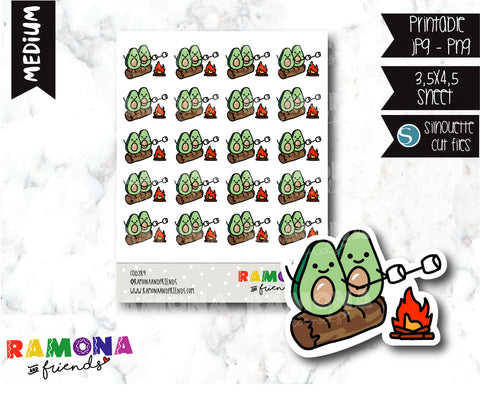 COD289- Avocado camp stickeres / Avocado Planner stickers
