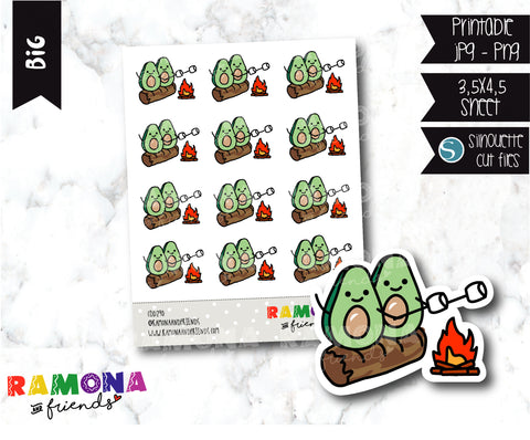 COD290- Avocado camp stickeres / Avocado Planner stickers