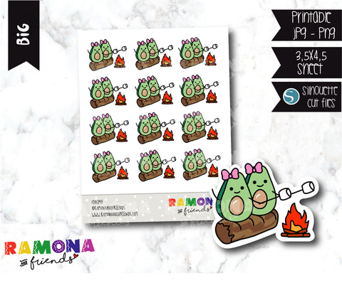 COD293- Avocado camp stickeres / Avocado Planner stickers