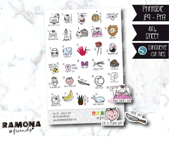 COD312-August Wacky Holidays Planner stickers