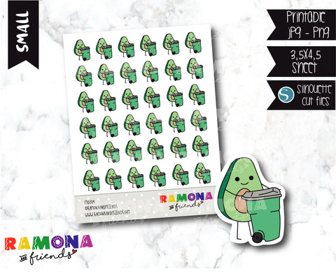 COD314- Avocado trash day stickers