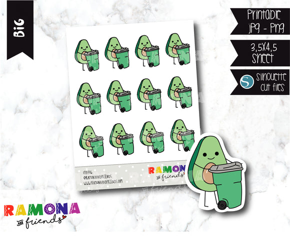 COD316- Avocado trash day stickers