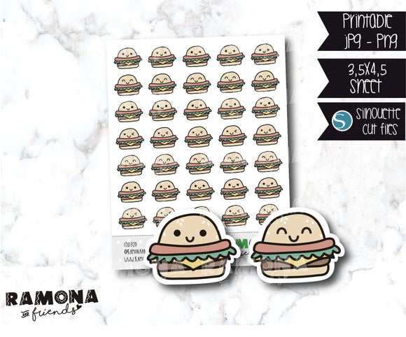 COD320-Kawaii Hamburger Planner stickers