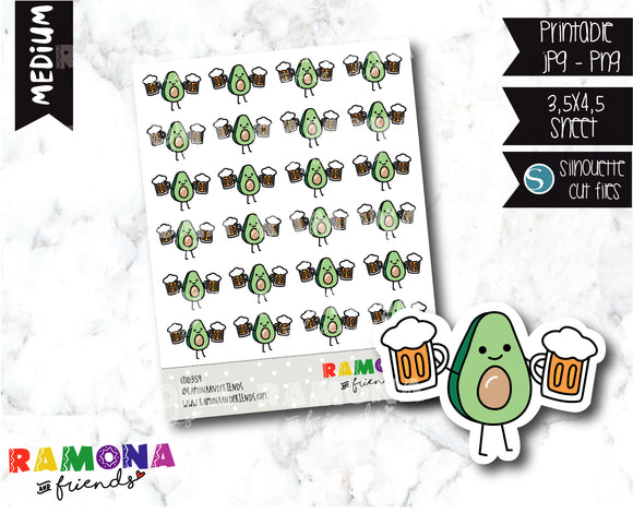 COD359- Avocado beer day stickers