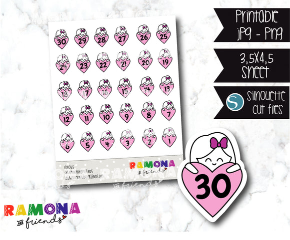 COD365-Planner Countdown stickers