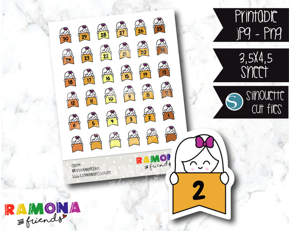 COD374-Planner Countdown stickers