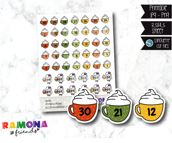 COD389-Countdown stickers/Fall Stickers / Autumn stickers