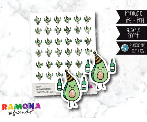 COD431- New Year Avocado Planner stickers