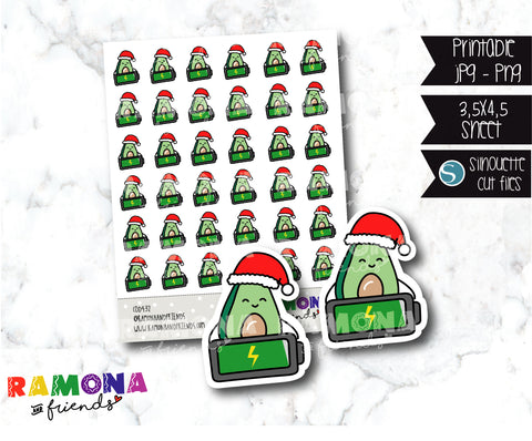 COD432- Christmas Avocado Planner stickers / Battery stickers