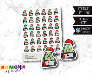 COD433- Christmas Avocado Planner stickers / Low battery stickers
